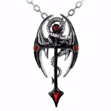 ALCHEMY DRACONKREUZ Dragon Pendant Gothic Cross Red Magical + FREE GIFT BOX