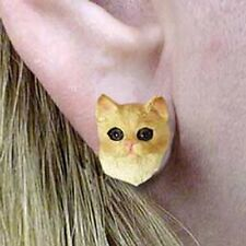 RED TABBY CAT Tiny One Head Post Earrings Jewelry