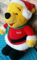 "Vintage 1995 90s Disney Winnie the Pooh Christmas Santa Bear Plush Stuffed 10"""