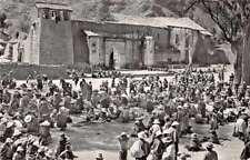 Pisac Peru people in main square near church real photo pc Z40886