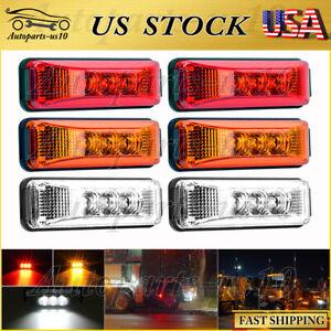 """6x Red&Amber&White 3.9"""" for Trailer Truck Sealed LED Side Marker Indicator Light"""