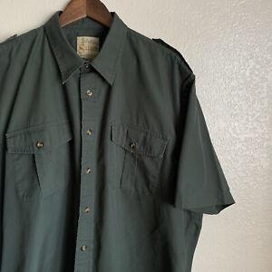 Cabelas Safari Forest Green Short Sleeve Men's Shirt Size XL Tall