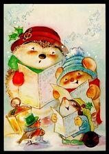 Vintage Hallmark Christmas Hedgehog Mouse Bird Singing Greeting Card - Unused