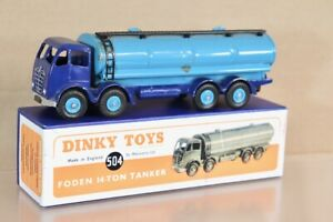 DINKY TOYS 504 REPAINTED BLUE FODEN 14 TON TANKER TRUCK nw