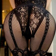 Black Sexy Open Crotch Fishnet Bodystocking/Catsuit Lingerie S 6-12
