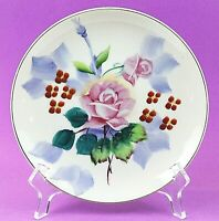"Vintage Hand Painted 7.5"" Decorative Plate Roses 1950's Made in Japan EUC"