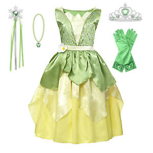 Tiana Princess Fancy Dress Girls Cosplay Costume Halloween Party Outfits+sets