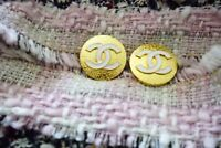 Two 2 Stamped Chanel buttons lot of 2 cc logo 18 mm 0,8 inch  metal gold