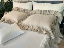 Linen Pillow Sham with Ruffles around /Buttons Closure/Pre Washed