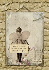 Wall Art Inspirational Quote What if I fall? Plaque Sign New Job University A4
