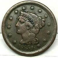 1851 Penny Braided Hair Large Cent - Original- Nice Coin. #2.1