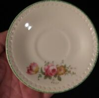 Vintage Porcelain Mini Saucer Pink Roses, Green Raised Trim Made in England