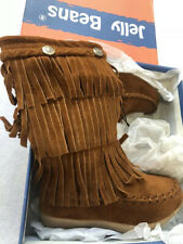 Jelly Beans BOOTS little girls Sz S 5  brown Fringe Fall Thanksgiving NWT
