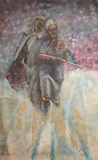 Vintage Oil Painting Winter Landscape Soldiers Portrait