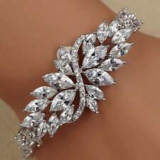 7.25 In White Gold GP Marquise Clear Cubic Zirconia CZ Tennis Bracelet 15 Flower