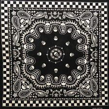 Black Paisley Skull Bandana Punk Rockabilly Retro Gothic Rock Cotton