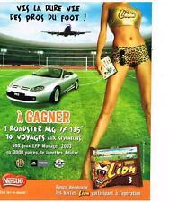 PUBLICITE ADVERTISING  2003   NESTLE  LION  barre chocolatée