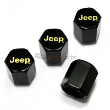 (4) Jeep Gold Logo Black ABS Tire/Wheel Pressure Air Stem Valve CAPS Covers