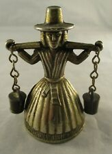 Vintage Retro Traditional Welsh Milkmaid Silver Plated Brass Bell Ornament