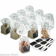 VonShef 12 x Mini Clip Top Airtight Seal Food Spice Storage Preserve Glass Jars