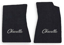 NEW! 1968-1972 CHEVELLE Floor Mats Black Carpet Embroidered SILVER LOGO PAIR
