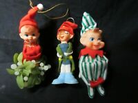 3 Vintage Christmas Pixies Striped Green & Napco Knee hugger and Delta Big Foot