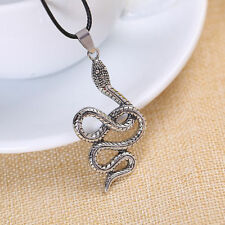 Unisex's Men Silver Snake Stainless Steel Cross Pendant Necklace Chain Jewelry