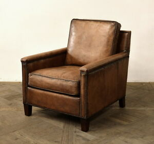 "30"" W Club Arm Chair Vintage chocolate brown soft buffalo leather Antiqued"