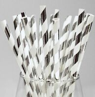 """Silver And White Striped Paper Straws 8"""" (20cm) Biodegradable Compostable 6mm"""