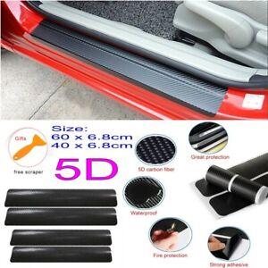 4x Universal Carbon Fiber Car Scuff Plate Door Sill 5D Sticker Panel Protector