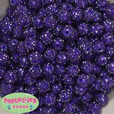 12mm Deep Purple Resin Rhinestone Bubblegum Beads Lot 40 pc.chunky gumball