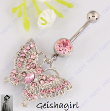 Stunning Pink Butterfly Body Piercing Navel Stud Bar Fashion Belly Ring Button