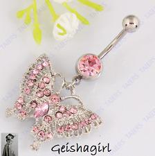 SPLENDIDA ROSA FARFALLA Piercing Corpo Ombelico Barra con borchie fashion BELLY RING pulsante