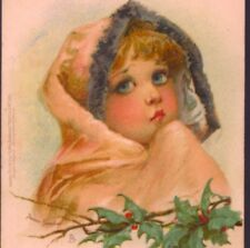"RARE..! BRUNDAGE,""SUNBEAM"" SOULFUL GIRL,CHRISTMAS,CHROMOLITHOGRAPH,TUCK POSTCARD"