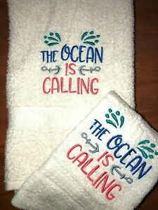Embroidered Ivory Bathroom Hand Towel The Ocean is Calling w Anchors H1472