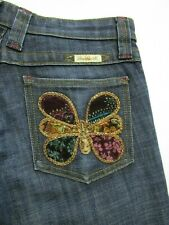Frankie B. Butterfly Embroidered Flare Womens Jeans Size 6 X 32