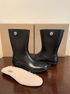 UGG Sienna Rain Boots Matte Black Size 6