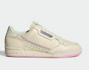 adidas Originals Continental 80 Shoes Womens Trainers Ecru/Pink