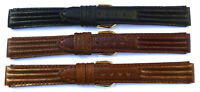 14mm FLEURUS BLACK OR BROWN TRI-PAD HAND MADE GENUINE LEATHER WATCH BAND / STRAP