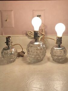 Vintage RARE Set of 3 Fostoria America Pattern Lamps- Good Working Condition 50s