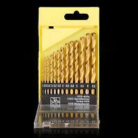 13pcs M1.5-6.5 HSS Metric Drill Bits Set Titanium Coated Twist Drills Metal Wood