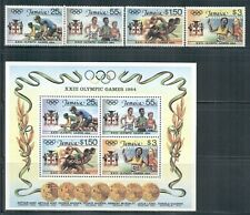 JAMAICA 577-80a SG600-03,MS604 MNH 1984 Summer Olympics LA set 4+MS Cat$14