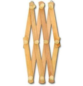Expandable Hook Wood Wall Peg Rack - Wooden Expanding Accordion Style 10 Hooks