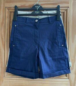 Ex M&S Per Una Brand New Navy Blue Beige Tailored Turn Up Shorts Size 8 - 16