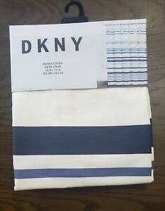 Dkny Water Stripe White Blues Navy  Fabric Shower Curtain 72x72 New