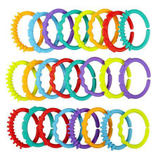 24Pcs Baby Teether Toys Colorful Rainbow Rings Stroller Hanging Educational Toys