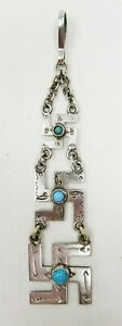 Antique Navajo Native American Solid Silver Turquoise Graduated Pendant Keychain