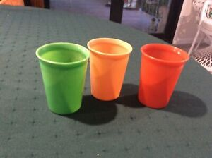 3 RETRO CUPS.MADE BY STRIPE TOOTHPASTE CIRCA 1960S.PLASTIC