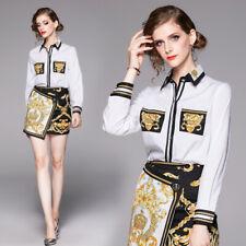2020 Summer Fall 2pcs Women Set Floral Print Top Shirt Blouse Skirt Suit Outfits