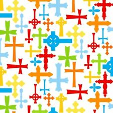 "Religious Fabric - Jesus Loves Me II Rainbow Cross on White - Henry Glass 28"""
